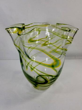 Vintage Handkerchief Bohemia Art Deco Crystal Glass Vase
