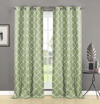 HOME MAISON - Nataly Geometric Grommet Window Curtain 2 Panel Drapes, 76 x 84, Sage Green
