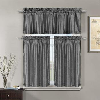 Duck River Textile - Minka Floral Kitchen 3 Piece Window Curtain Tier and Valance Set, 2 28 x 36 and One 56 x 16 -, Gunmetal
