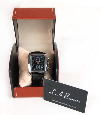 LA Banus Silver Case & Black Genuine Leather Men's Watch $900.00