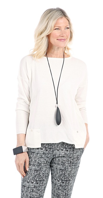 Marla Wynne Ladies Drop Pocket Easy Sweater, Canvas, Small, Retail: $90