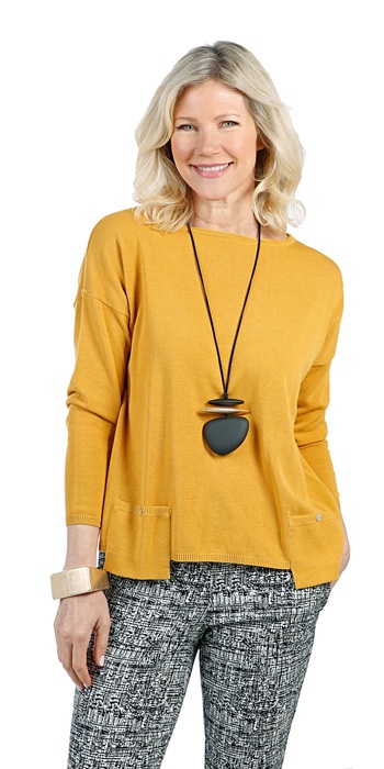 Marla Wynne Ladies Drop Pocket Easy Sweater, Amber, Small, Retail: $90