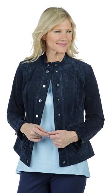 ISAAC MIZRAHI Ladies Suede Utility Jacket, Navy, 4, Retail: $194