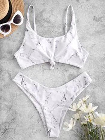 New With Tags Marble Print Knot High Leg Bikini Swimwear White Size S