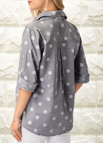 Turndown Collar Polka Dot Print Shirt L