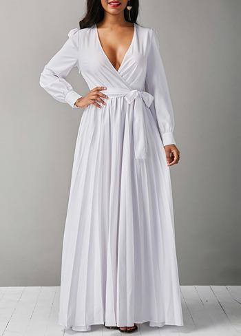 Long Sleeve V Neck White Belted Maxi Dress L