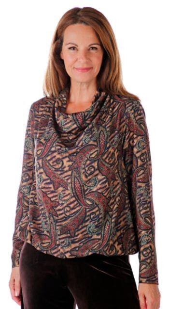 Heidi Daus Women's Relaxed Turtleneck Paisley Top, Camel/Brown, Size S, Retail: $88.72