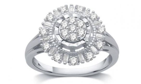 1/2 CT Genuine Natural Diamond Sunflower Ring Sz 7