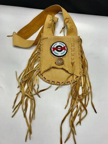 "Native American Medicine Bag 10"" -Pueblo Indian Fringed Suede Leather Medicine Bag, Possible Bag"