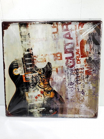 """NEW Vintage Looking Guitar Square Metal Sign 12"""" x 12"""""""