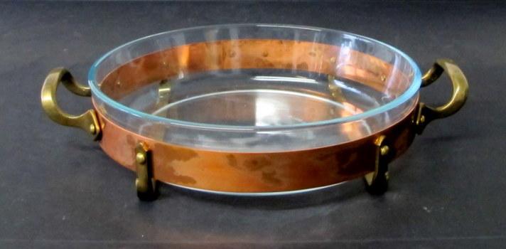 Vintage Nilsjohan Round Pyrex Baking/Roasting Dish with Serving Stand