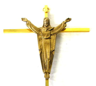 Vintage Brass Crucifix Wall Hanging