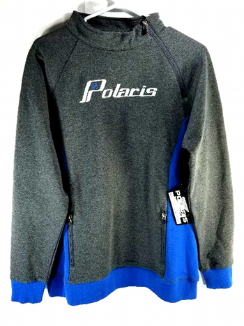 NWT Polaris Womens Gray Blue Carved Shoulder Zip Sweatshirt Sweater OEM L