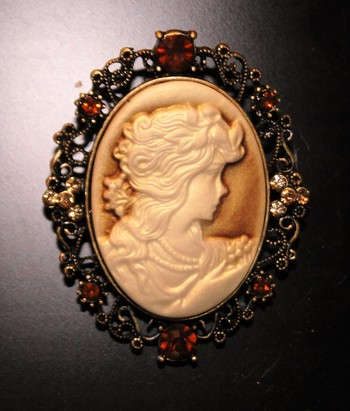 """HRH, Queen Victoria Inspired Cameo with Austrian Crystals by """"George"""""""
