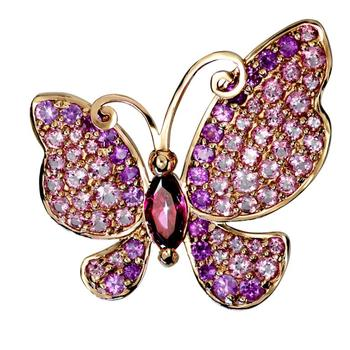 """Austrian Crystal Butterfly Brooch/Collar Pin Designed by """"George"""""""