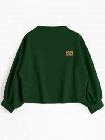 Badge Patched Lantern Sleeve Sweatshirt - Blackish Green - Size M