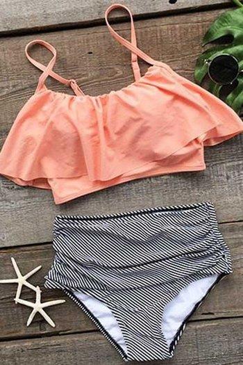 Cupshe Seaside Gale Falbala High Waist Bikini Set L