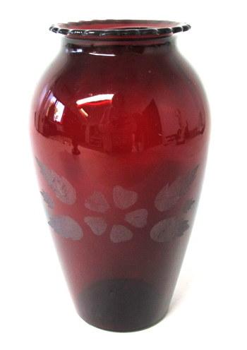Vintage Ruby Red Vase with Sand Blasted Design