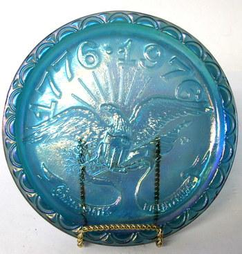 Vintage Bicentennial Blue Carnival Glass Plate