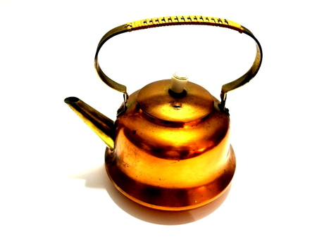VTG England Copper Kettle Teapot with Brass and Leather Wrapped Handle