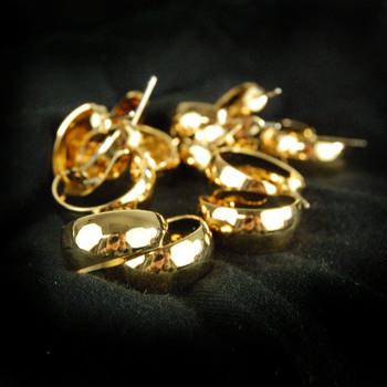 GOLD PLATED HOOP EARRINGS - 6 Pairs
