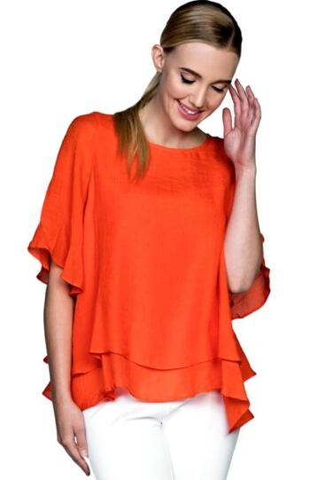 Red Coral Double Layer Crepe Blouse, Colour: Orange, Size: Large, Retail: $60.00