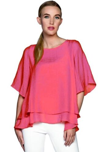 Red Coral Double Layer Crepe Blouse, Colour: Raspberry, Size: Large, Retail: $60.00