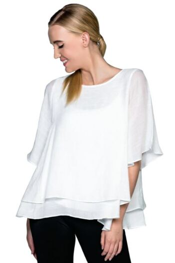 Red Coral Double Layer Crepe Blouse, Colour: White, Size: Large, Retail: $60.00