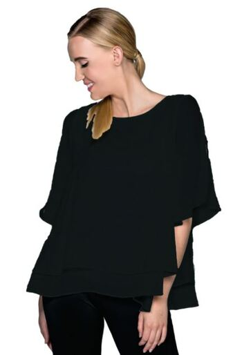 Red Coral Double Layer Crepe Blouse, Colour: Black, Size: Large, Retail: $60.00