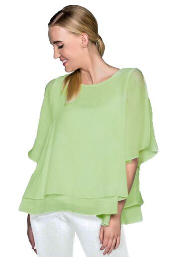 Red Coral Double Layer Crepe Blouse, Colour: Lime, Size: Large, Retail: $60.00