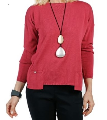 Marla Wynne Drop Pocket Easy Sweater, Colour: Deep Rose, Size: Small, Retail: $114