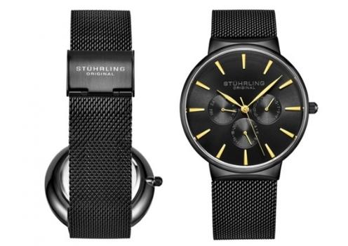 Stuhrling Men's Mesh Bracelet Black Dress Watch