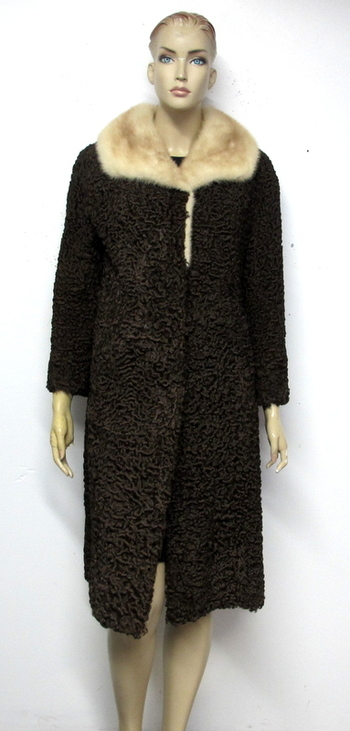 Women's Persian Lamb Coat with Mink Collar-Size Medium