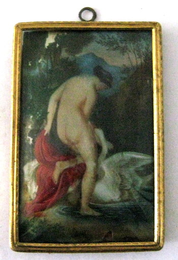 """Antique Watercolor """"Leda and The Swan"""" by Franz Theodor Grosse- Year 1852"""