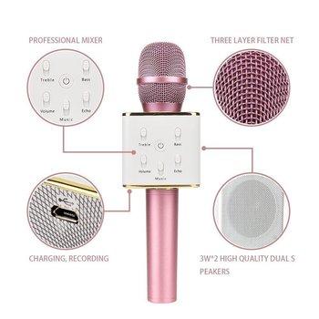 Q7 Wireless Karaoke Handheld Singing Machine Condenser Microphones and Bluetooth Speaker Audio Recording (Pink)