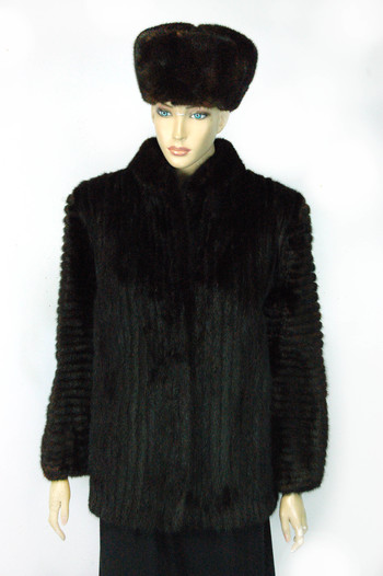 Mink Jacket With Matching Mink Hat - Designer Saga Mink Dark Mahogony Color Mink Jacket and Hat - Size S/M - $3,495.00 Cold Storage Value
