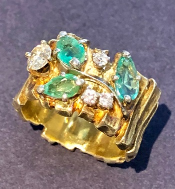 14K Yellow & White Gold Diamond & Emerald Ring Sz 7 Appraised $2,850.00