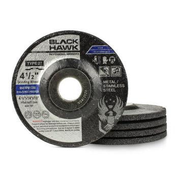 "5 Pack - 4-1/2"" x 1/4"" x 7/8"" Black Hawk Grinding Wheel (T27 Depressed Center)"