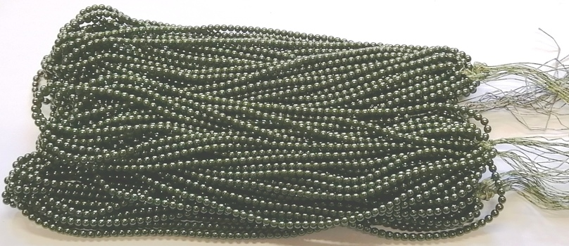 PEARLS - 4MM OLIVE GREEN GLASS BASE PEARLS - 5600 BEADS