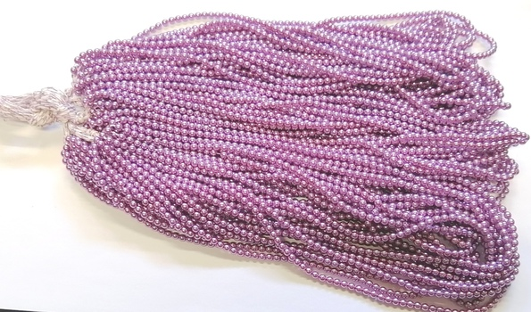 PEARLS - 4MM PEARLY PURPLE GLASS BASE PEARLS - 5600 BEADS