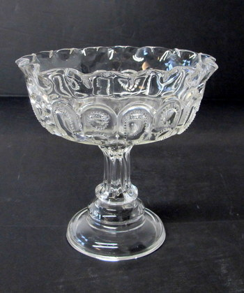 Turn of the Century Pressed Glass Pedestal Fruit Bowl