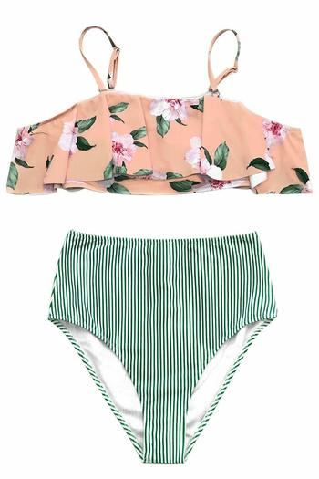 NWT Womens Swimsuits High Waisted Falbala Bikini Sets Pink Floral Printing - Size M