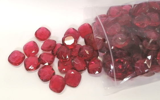 24MM UNFOILED FLAWED RUBY CUSHION GLASS STONES - 170 PIECES