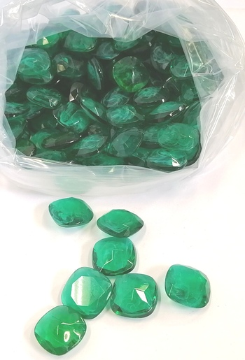 24MM UNFOILED FLAWED EMERALD CUSHION GLASS STONES - 170 PIECES