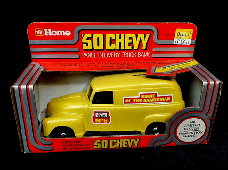 Vintage Home Hardware 1950 Chevy Panel Delivery Truck Coin Bank Die Cast Model