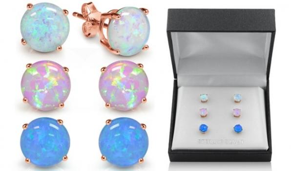 3 MUIBLU Opals 18K Rose Gold Over Sterling Silver Opal Stud Earrings