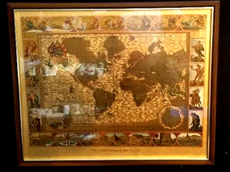 Vintage Gold Foil Etched World Map From Original Engraving by Moses Pitt in 1681