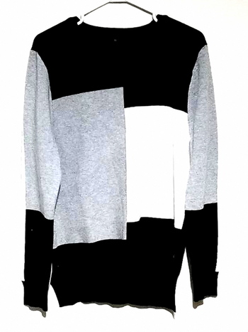 Color Blocking Round Neck Casual Sweater Size XL
