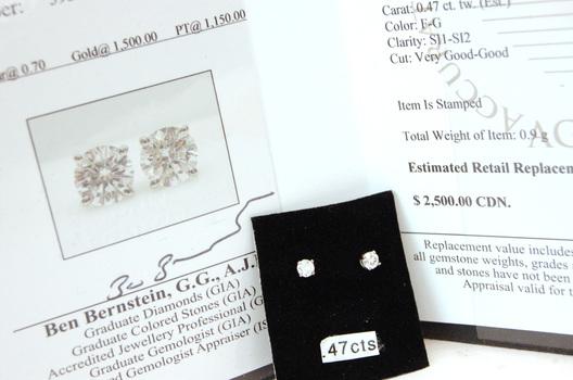 18 Kt Gold Diamond Earrings 0.47 Carat $2,500.00