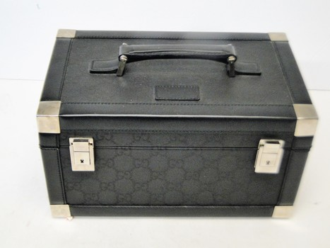 GUCCI Black Monogram and Leather Train Case, Cosmetic Travel Make Up Utility